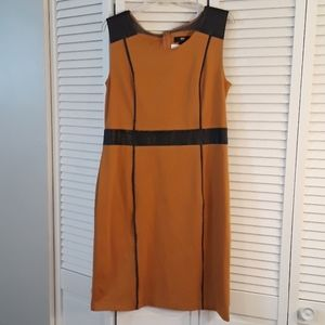 Massimo Womens Knit Dress with Faux Leather accent